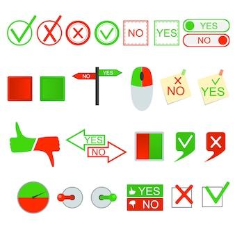 Grünes ja und rot kein zeichen set konzept der wahl gestaltungselemente pfeil sprechblase. vektor-illustration