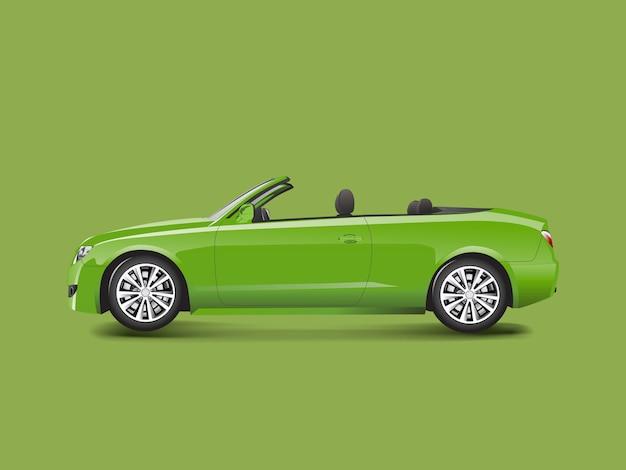 Grünes kabriolett in einem grünen hintergrundvektor