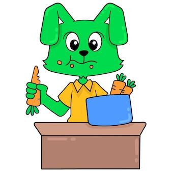 Grünes kaninchen, das karottengemüse sayuran, vektorillustrationskunst genießt. doodle symbolbild kawaii.