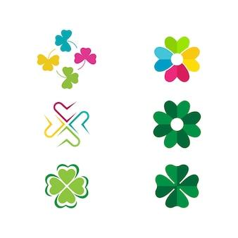 Grünes kleeblatt symbol template design vector