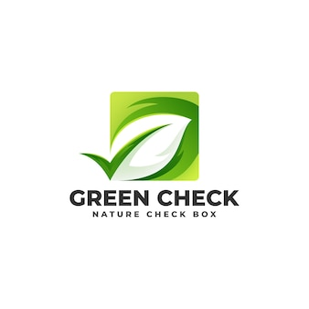 Grünes kontrollkästchen - natur-logo-konzept Premium Vektoren