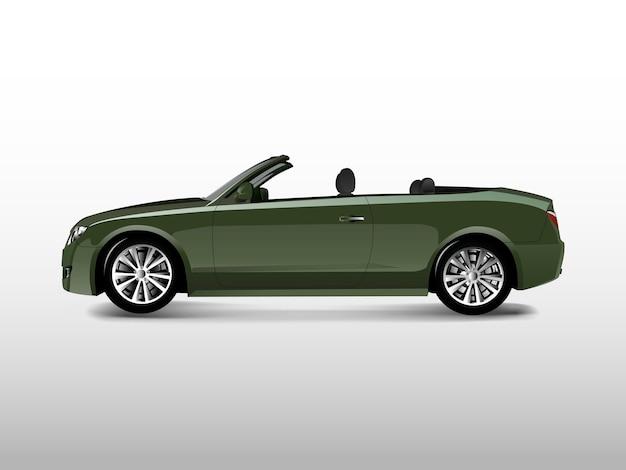 Grünes konvertierbares auto getrennt auf weißem vektor