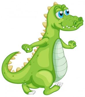 Grünes krokodil auf weiß