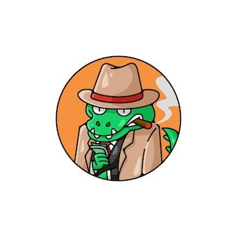 Grünes krokodil, das mafia-anzug trägt und geld bringt Premium Vektoren