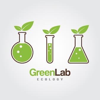 Grünes lab-symbol logo isoliert