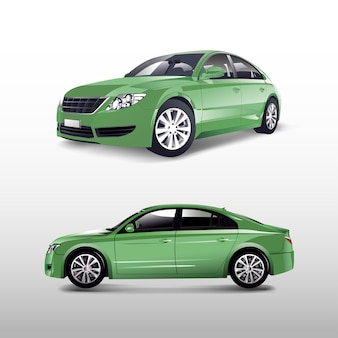 Grünes limousinenauto lokalisiert auf weißem vektor
