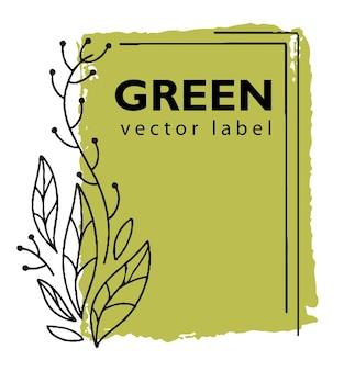 Grünes logo für ökologisches und natürliches produktlabel Premium Vektoren