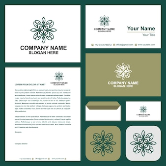 Grünes logo und visitenkarte