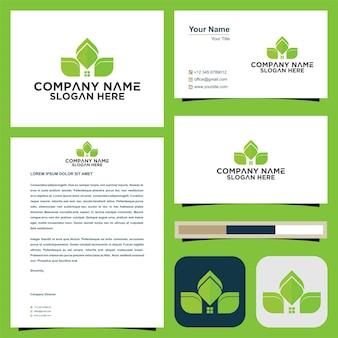 Grünes logo und visitenkarten-premium