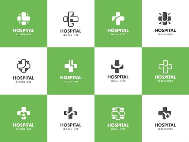 Grünes medizinisches gesundheitslogoillustrationsschablonendesign eingestellt in kreuzform