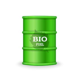 Grünes metallfass mit biokraftstoff