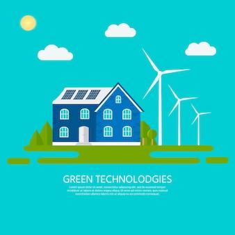 Grünes modernes haus mit sonnenkollektoren und windkraftanlage. umweltfreundliche alternative energie. ökosystem-infografiken. flache vektorillustration.