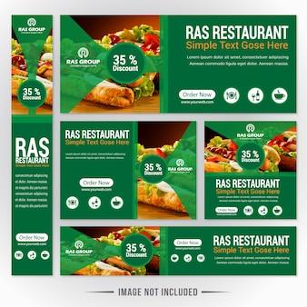 Grünes nahrungsmittelweb-fahnen-set für restaurant