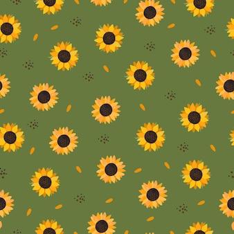 Grünes nahtloses muster mit sonnenblumen