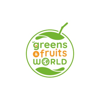 Grünes obst- und gemüseweltlogo, grünes frisches obstlogosymbol
