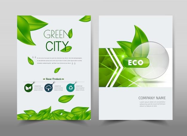 Grünes ökologiedesign auf hintergrund. broschüre in a4.