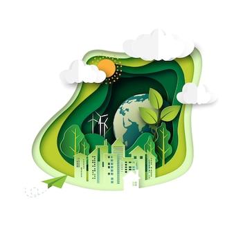 Grünes ökologiekonzept mit abstraktem papier schnitt hintergrund.