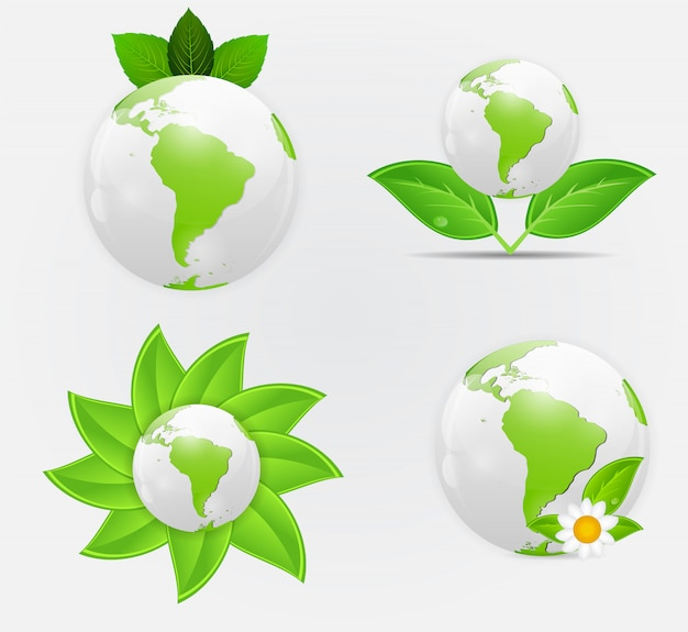Grünes ökoplanetenkonzeptvektorillustration