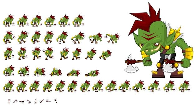 Grünes orc-spiel sprite