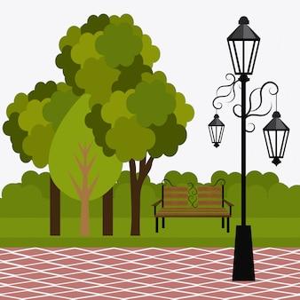 Grünes parkdesign.