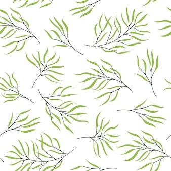 Grünes pflanzenstamm-nahtloses muster