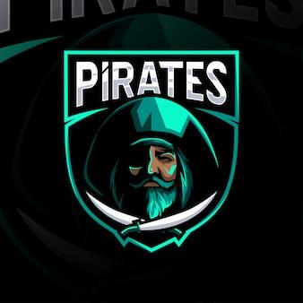 Grünes piraten-maskottchen-logo