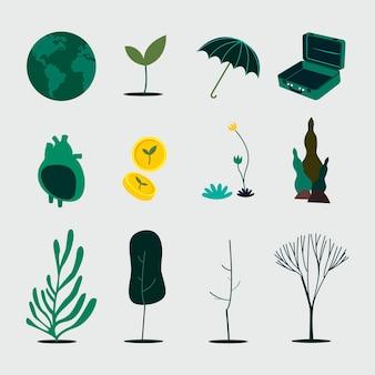Grünes planeten nachhaltigkeit und erhaltung konzept