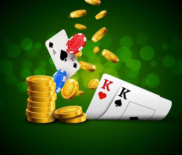 Grünes poster des pokerchips-kasinos. glücksspielkarten und münzen erfolg gewinner royal casino hintergrund.