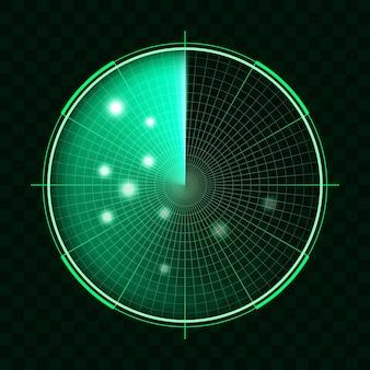 Grünes radar auf dunklem hintergrund. militärisches suchsystem. hud-radaranzeige, abbildung