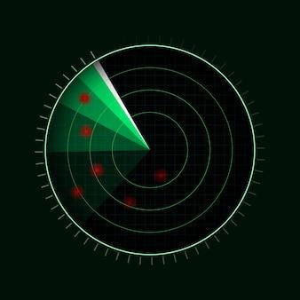 Grünes radar lokalisiert auf dunklem hintergrund