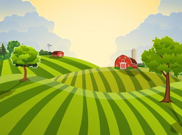 Grünes saatfeld der karikaturfarm, rote scheune auf einem grünen bauernfeld, gestreifte großfeldfarm, flache farmlandschaft