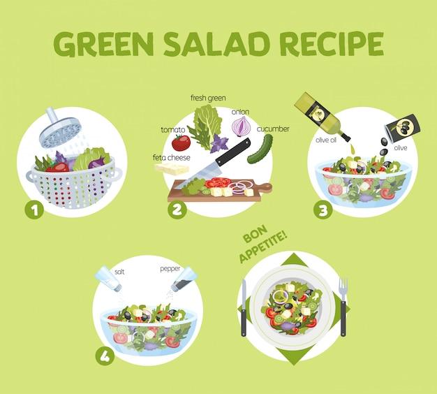 Grünes salatrezept für vegetarier. gesunde zutat für leckeres essen. gurken- und olivenöl, tomaten und käse. frisches gemüsemehl. illustration