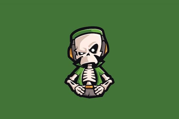 Grünes schädel-esport-maskottchen