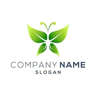 Grünes schmetterlings-logo