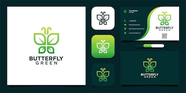 Grünes schmetterlingslogo-design mit blättern und visitenkarte