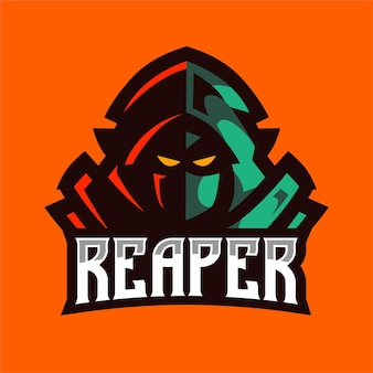 Grünes schnitter-maskottchen-logo