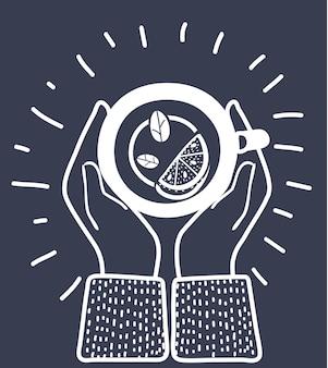 Grünes schwarzes kräuterteepflanzenblatt mit gewürzen kardamom zimt minze hand gezeichnete skizze illustration blumenzweig bio linear afrikaner indischer chinesischer tee heißgetränk