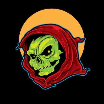 Grünes sensenmann-maskottchen