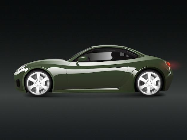 Grünes sportauto in einem schwarzen hintergrundvektor