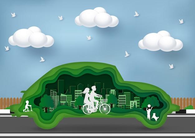 Grünes stadtkonzept eco freundlich. kunst, handwerk & papier