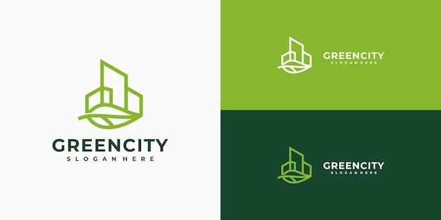 Grünes stadtlogo-design minimalistisch linear