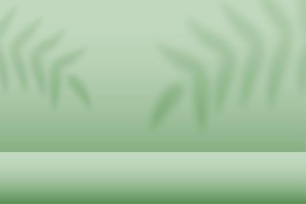 Grünes studio mit ausstellungsfläche