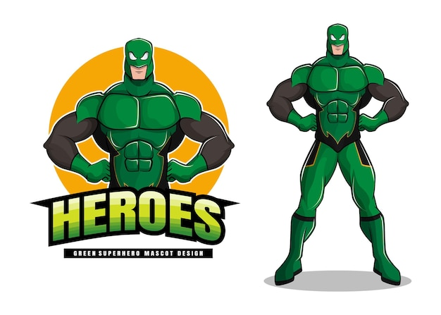Grünes superhelden-maskottchen-design