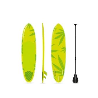 Grünes surf-sup-board mit einem muster von marihuana. drei seiten.