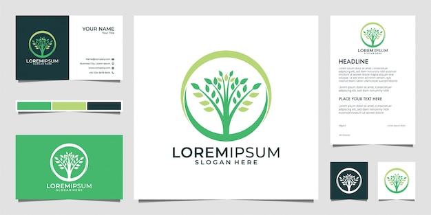 Grünes t-stück logo design und visitenkarte