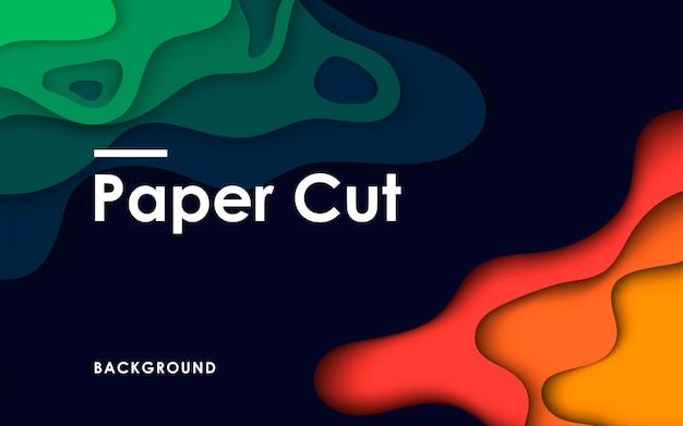 Grünes tosca und orange papier 3d schnitten hintergrund