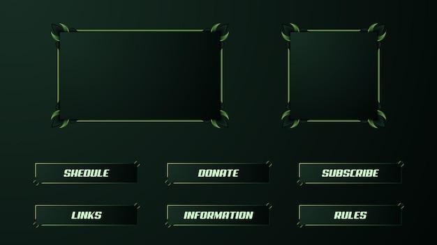 Grünes twitch streamer-panel-overlay-set