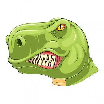 Grünes tyrannosaurus-kopfmaskottchen
