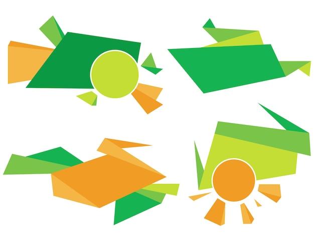 Grünes und orangefarbenes unternehmenselement. bunte abstrakte vektorgrafikdesignillustration
