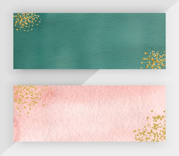 Grünes und rosa aquarell mit horizontalen bannern der goldglitterstruktur